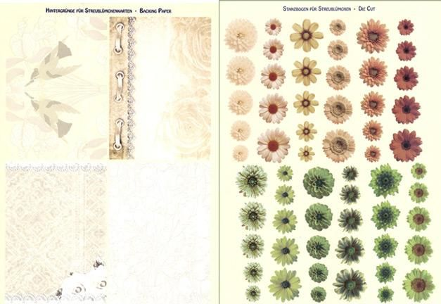 3D Precuts - Realistic Small Flowers (Matching Backing Design) Cream, Apricot, Green
