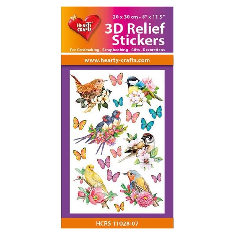 Hearty Crafts 3d Relief Stickers - Birds A4