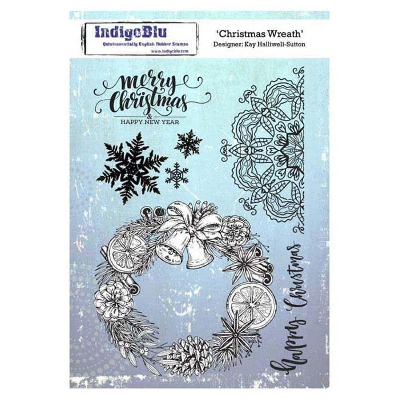Indigoblu Christmas Wreath A5 Red Rubber Stamp