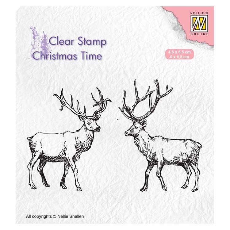 Nellie's Choice Clear Stamp Two Reindeer