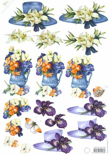3d Cutting Print- Blue Flowers