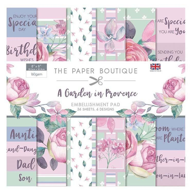 The Paper Boutique A Garden In Provence 8x8 Embellishments Pad