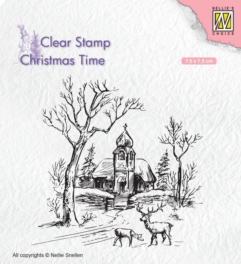 Nellie's Choice Clear Stamp Church And Deer