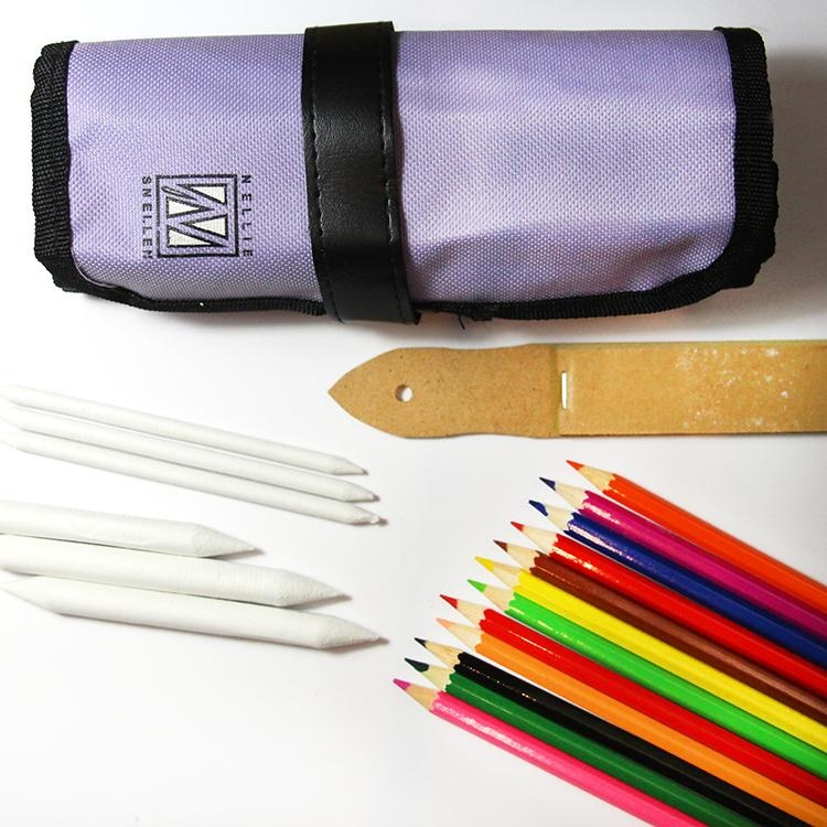 Nellie's Choice High Pigment Soft Pencil Crayons With Blending Tools And Case