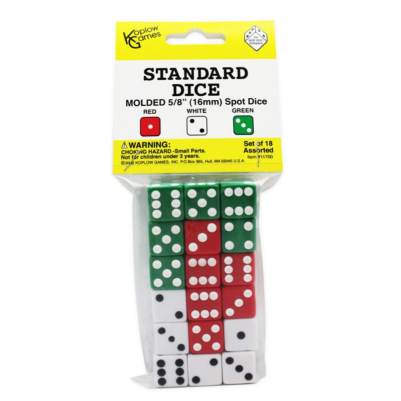 Dot Dice 6 Each Of Red White & Green