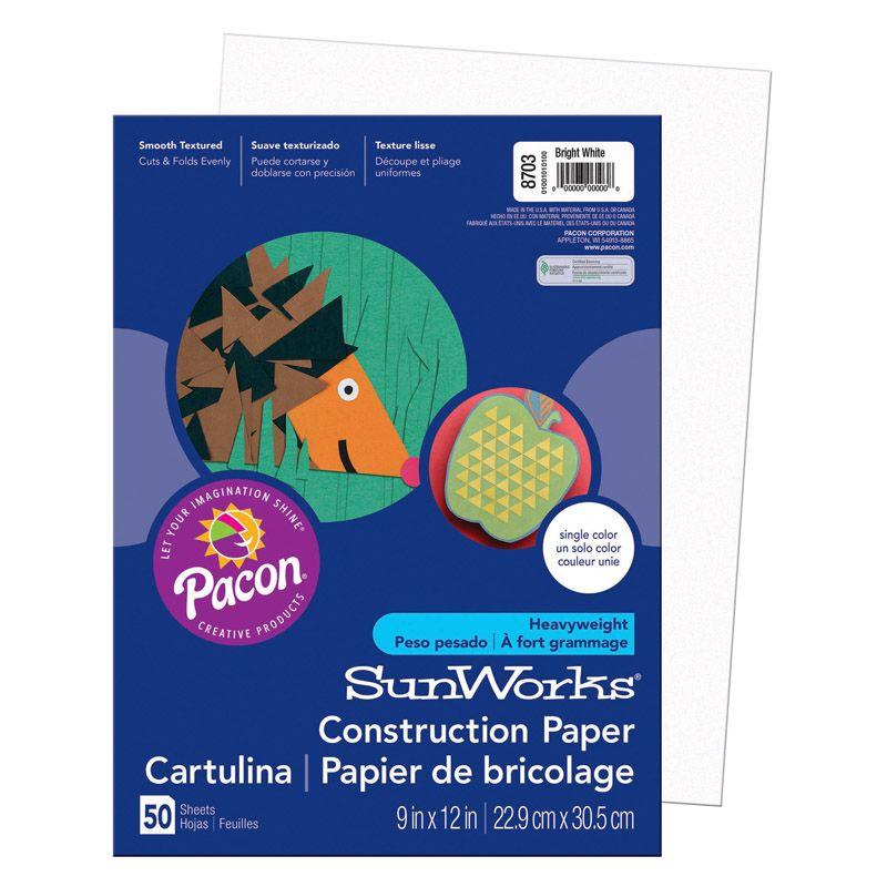Sunworks 9X12 Bright White 50Ct Construction Paper
