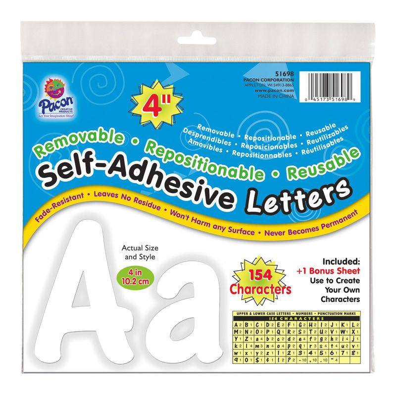 Letters White Cheery Font 4in Self Adhesive