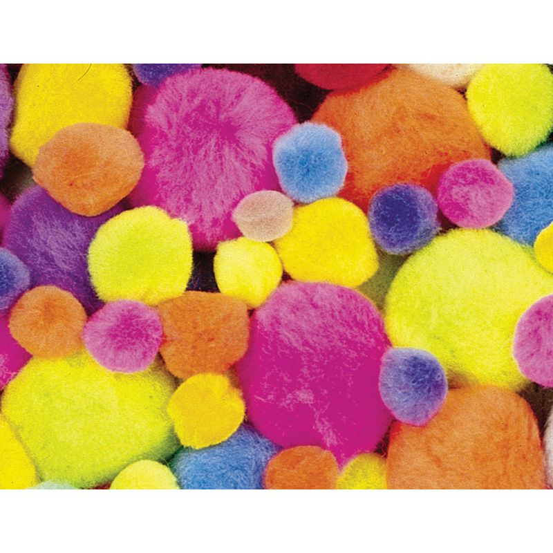 Pom Pons Hot Colors Assorted Sizes 100 Pieces