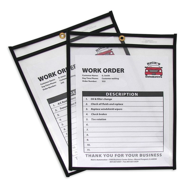 Shop Ticket Holdrs 9x12 25/box Stitched Both Sides Clear