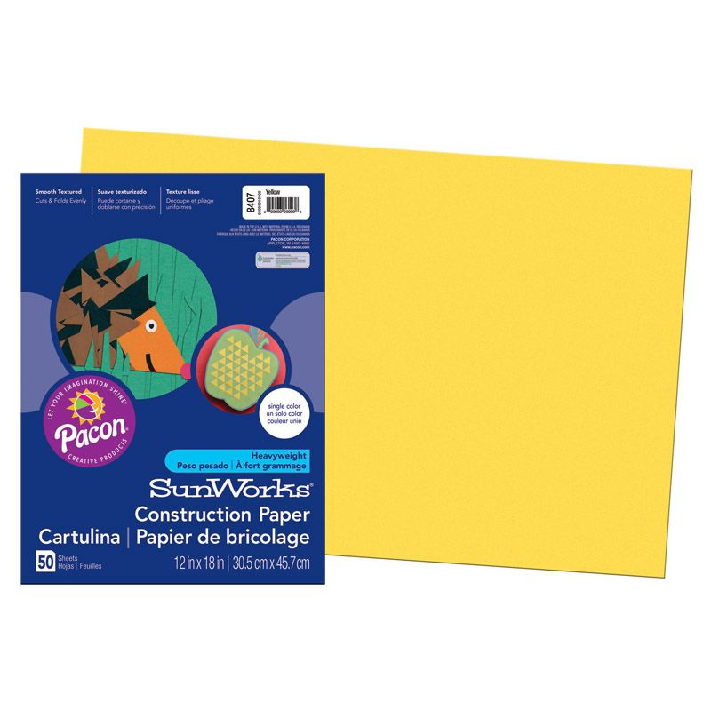 Sunworks 12X18 Yellow 50Ct Construction Paper