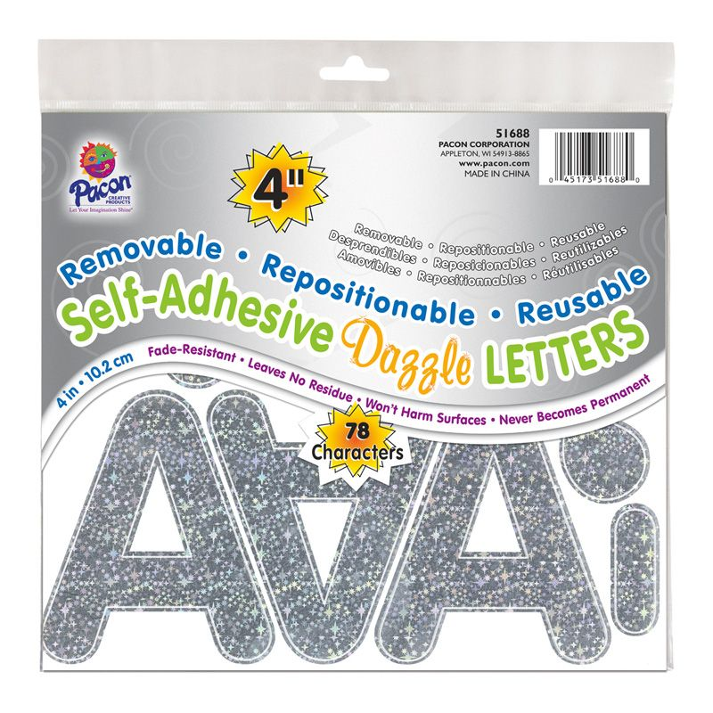 Letters Silvr Dazzle Puffy Font 4in Self Adhesive