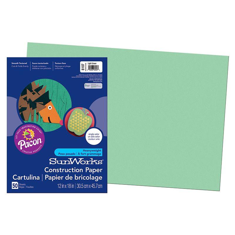 Sunworks 12X18 Light Green 50Ct Construction Paper