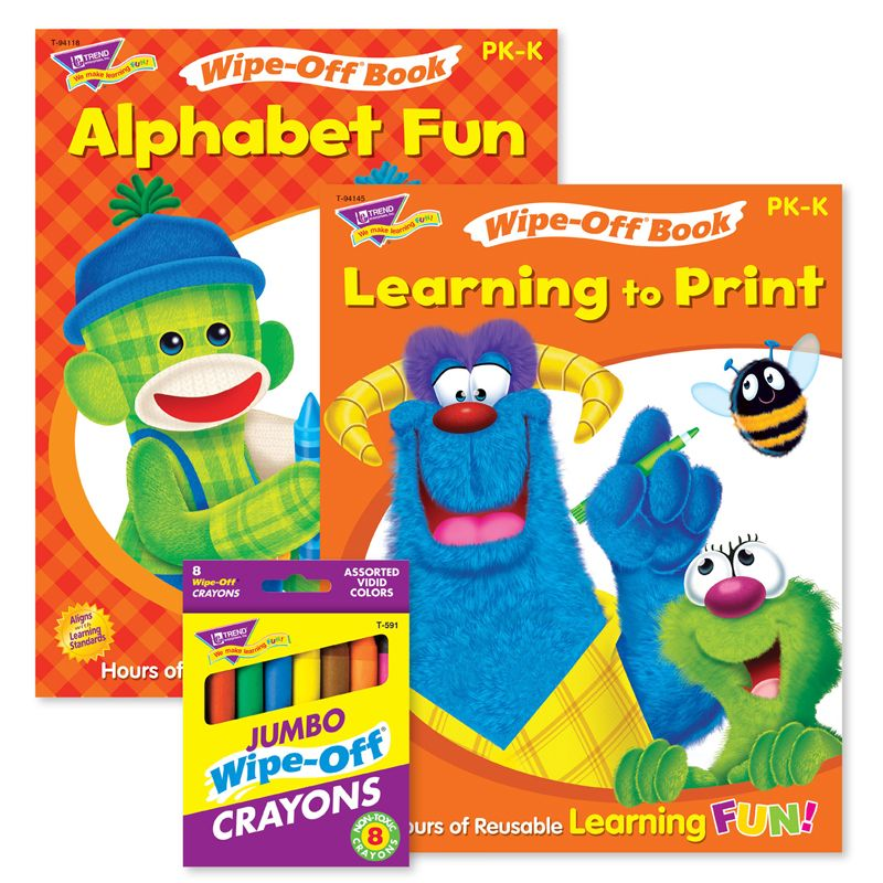 Abcs & Printing Reusable Books & Crayons