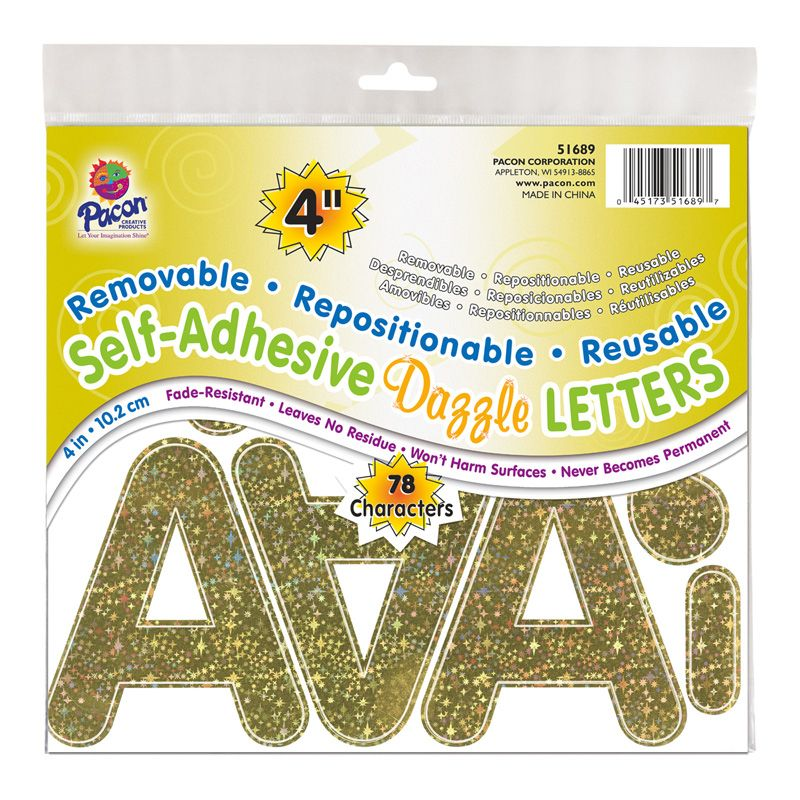 Letters Gold Dazzle Puffy Font 4in Self Adhesive