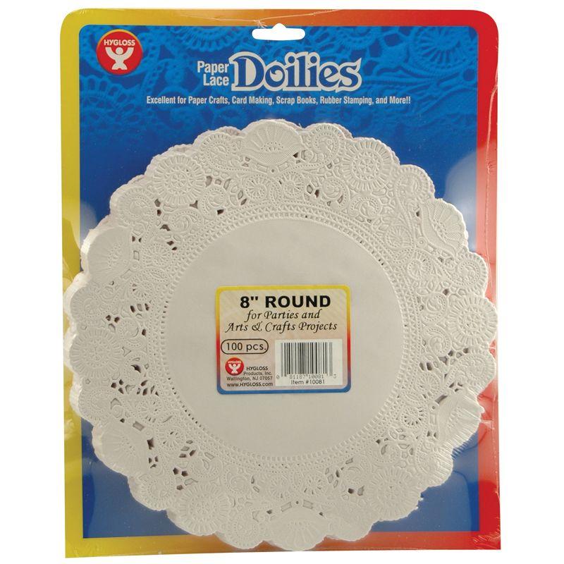 Doilies 8 White Round 100/Pk