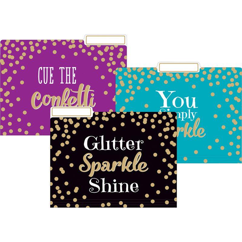 Gold Foil Confetti File Folders