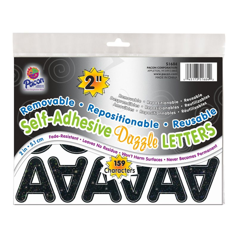 Letters Black Dazzle Puffy Font 2in Self Adhesive