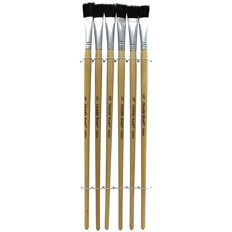 Black Bristle Easel Brush 6-Set 1/2 W X 12 l