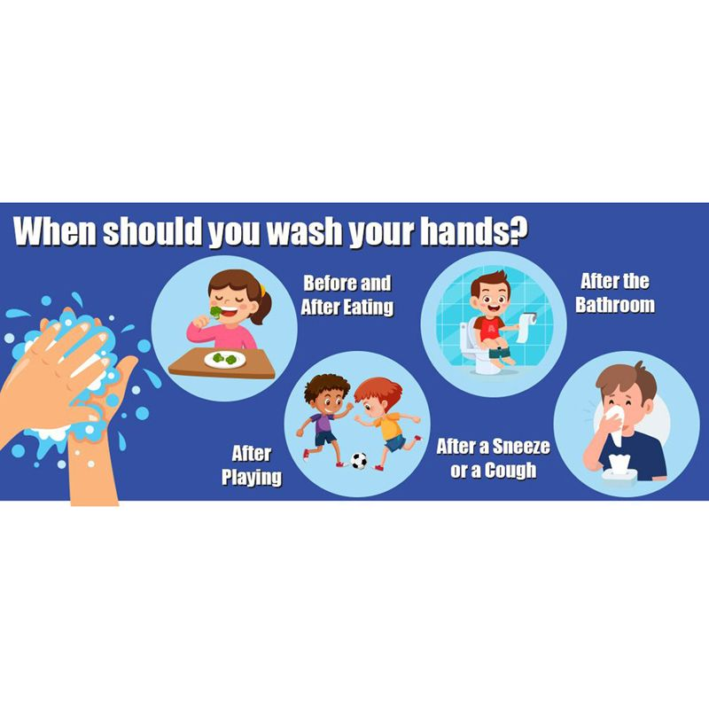 When To Wash Your Hands Floor Stickers 5pk