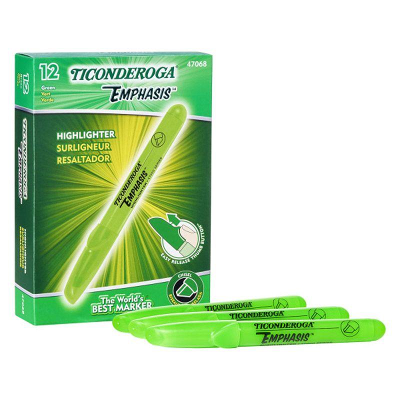 Highlighters Desk Style Green 12pk Chisel Tip