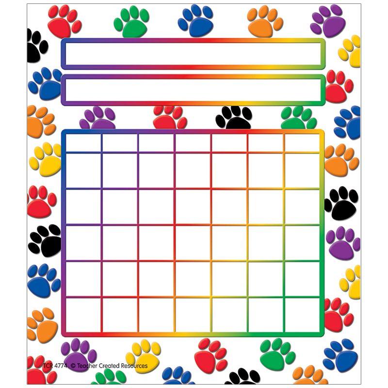 Colorful Paw Prints Incentive Chart 5 1/4 X 6 36/Pk