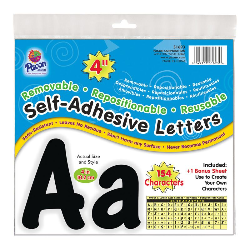 Letters Black Cheery Font 4in Self Adhesive