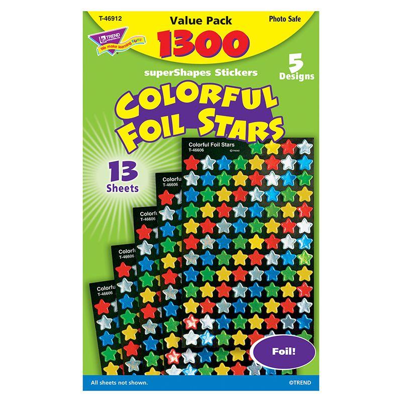Sticker Foil Stars Super Variety Pk 7/16In Blu Red Gld Grn Silver