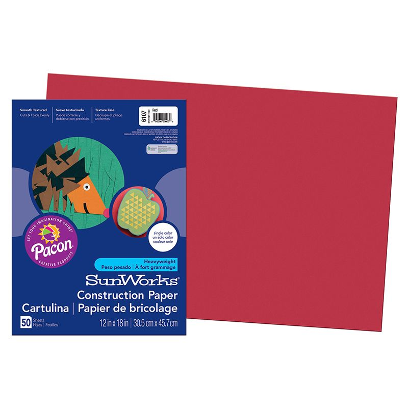 Construction Paper Red 12X18 Sunworks
