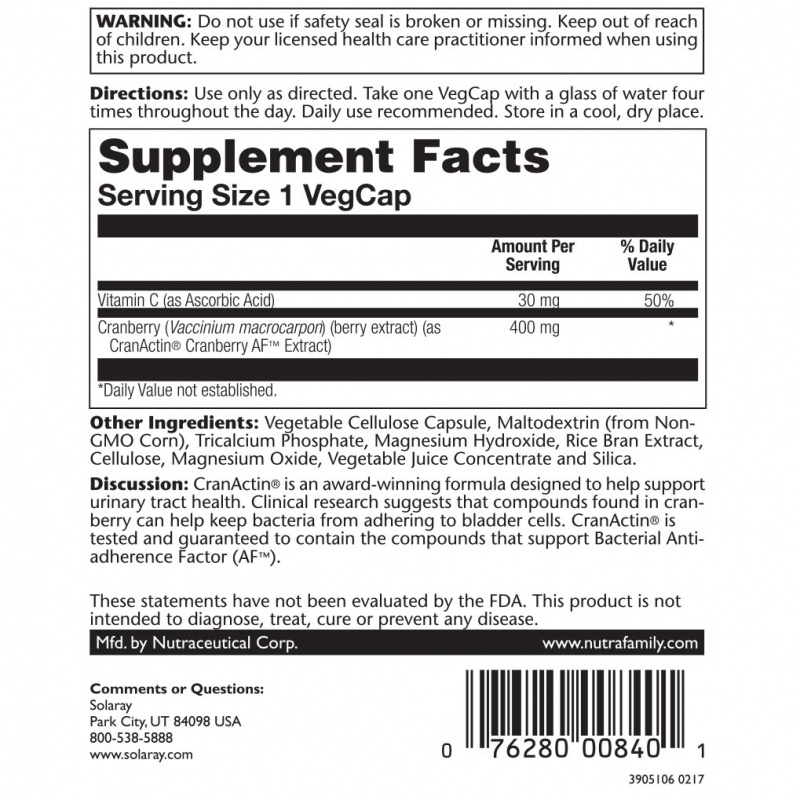 Solaray Cran Actin Cranberry Extract 60 Count