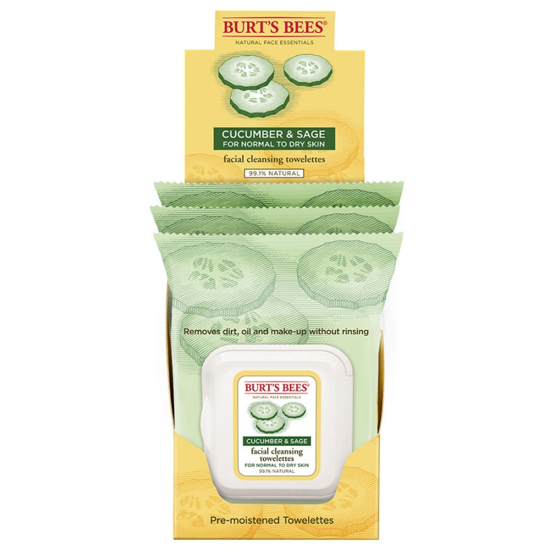 Burt's Bees Cucumber & Sage Facial Cleansing Towelettes 1 (30 Count) Pack