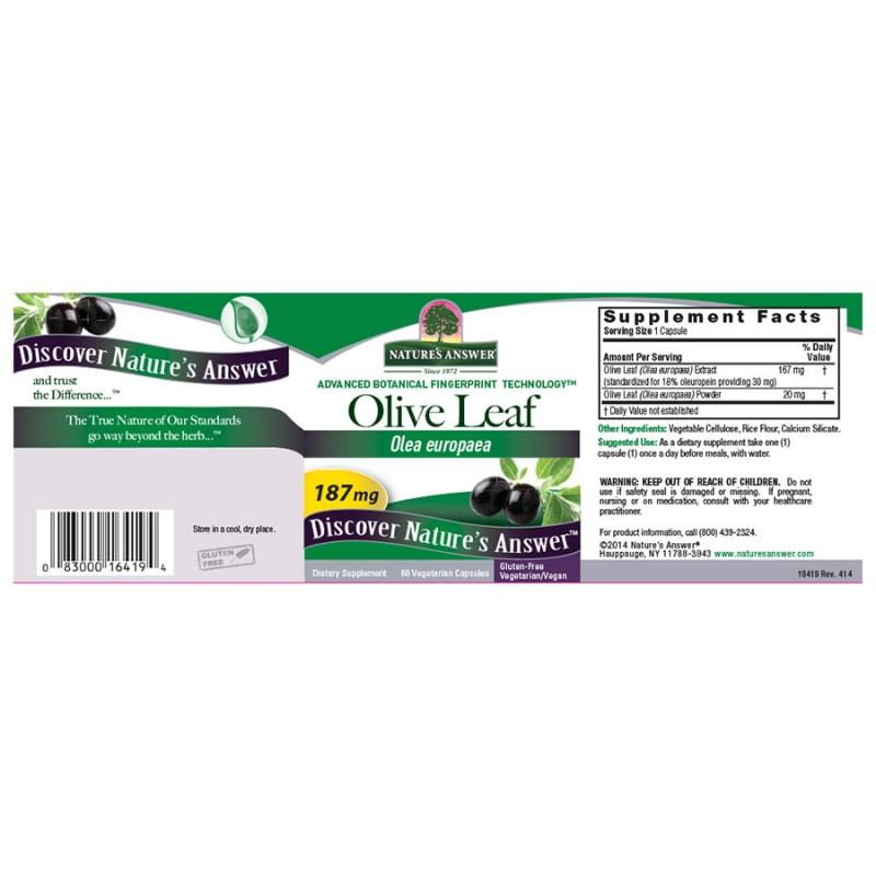 Nature's Answer Oleopein Olive Leaf 60 Vegetarian Capsules