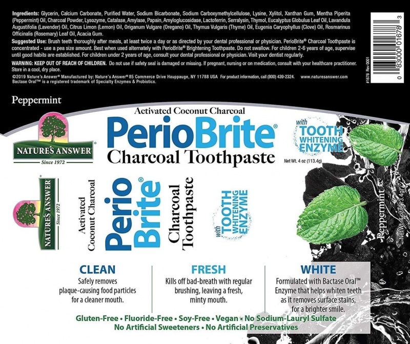 Nature's Answer Periobrite Activated Charcoal Peppermint Toothpaste 4 Oz