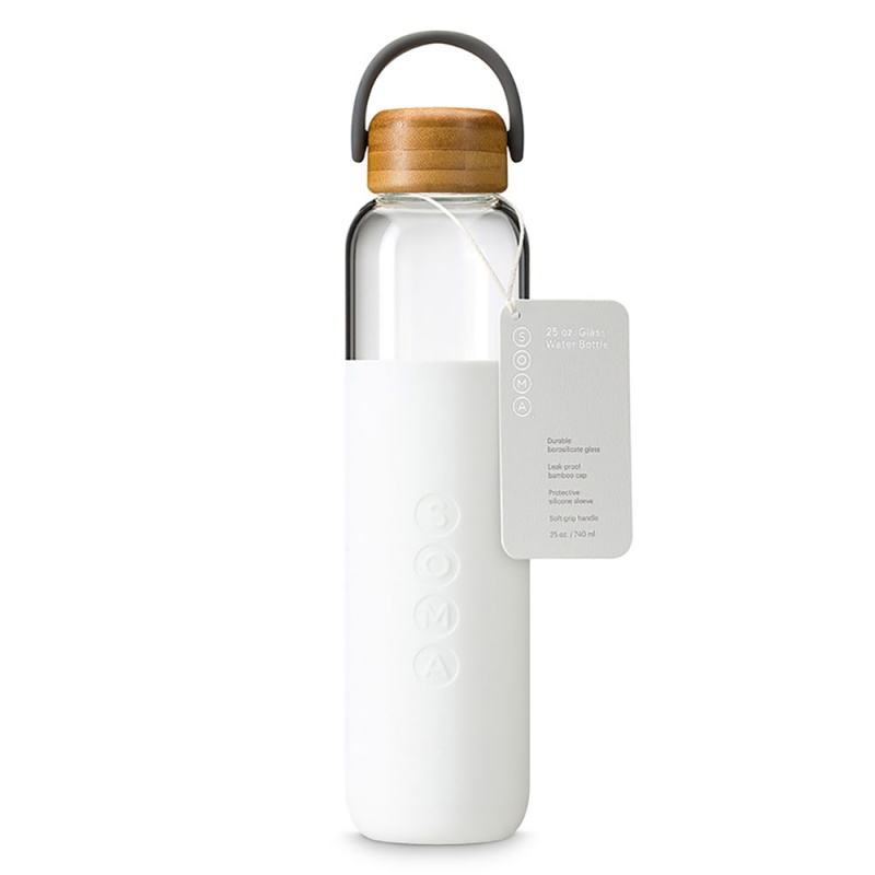 S O M A White Glass Water Bottle With Handle 25 Oz