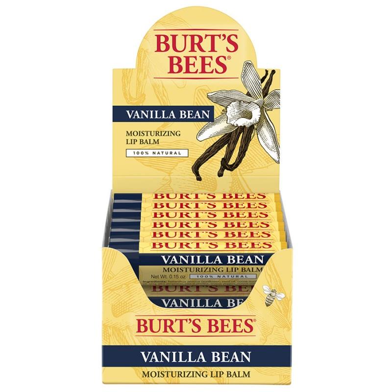 Burt's Bees Vanilla Bean Lip Balm Display 12 (0.15 Oz.) Tubes