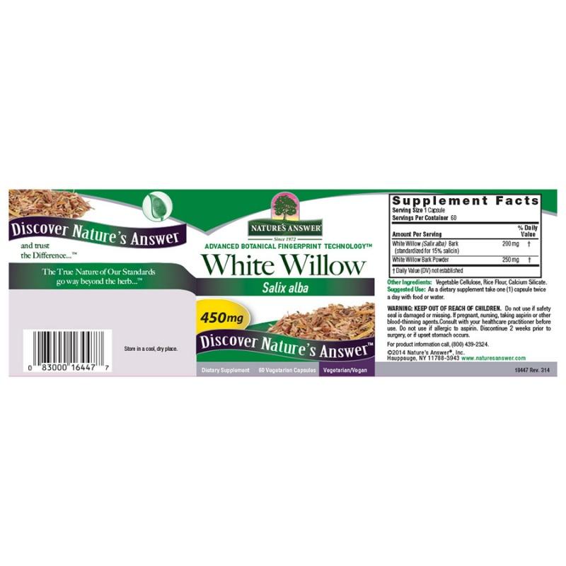 Nature's Answer White Willow Bark 60 Vegetarian Capsules
