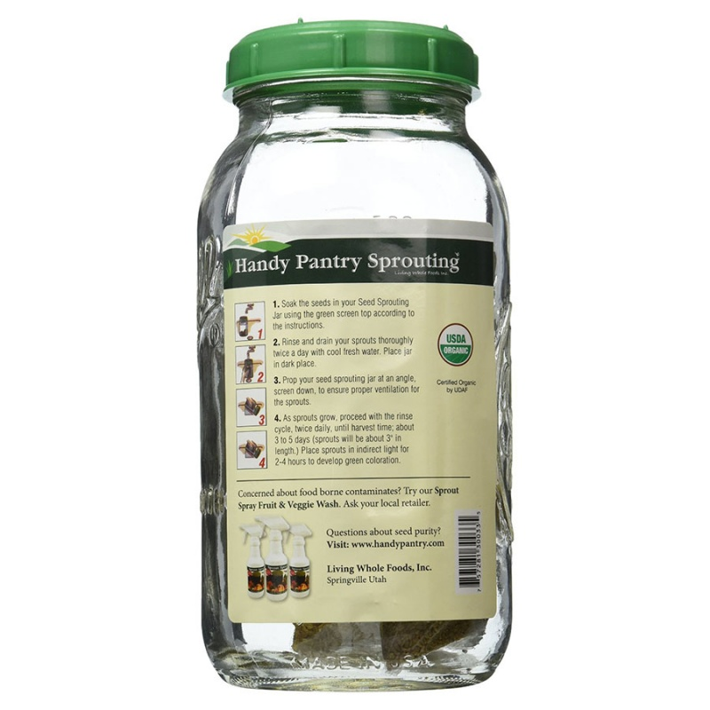 Handy Pantry Glass Seed Sprouting Jar Half Gallon