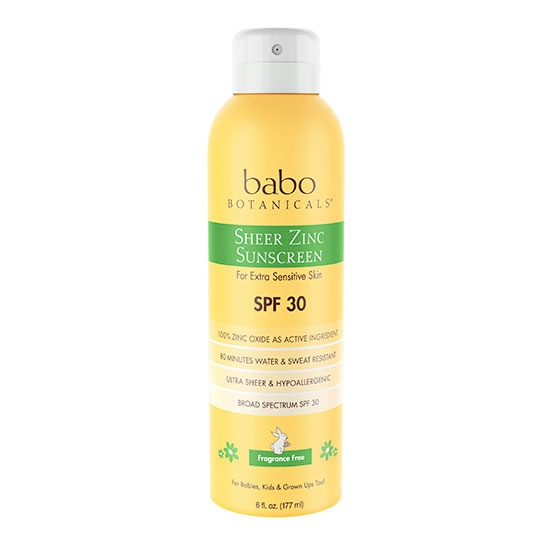 Babo Botanicals Spf 30 Fragrance Free Sheer Zinc Continuous Spray 6 Fl. Oz.