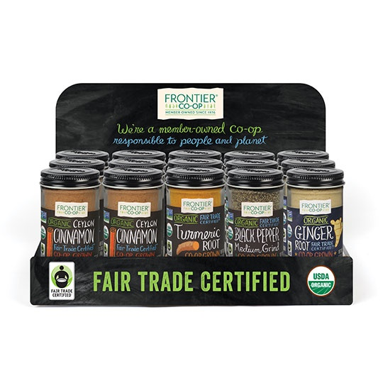 Frontier Fair Trade Organic Bottled Spice Countertop Tray 15 Ct