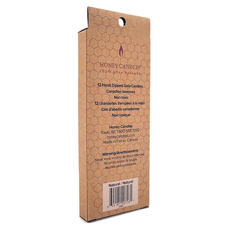 Honey Candle Co. Gala Beeswax Candles 12, 6 Inch Candles Natural