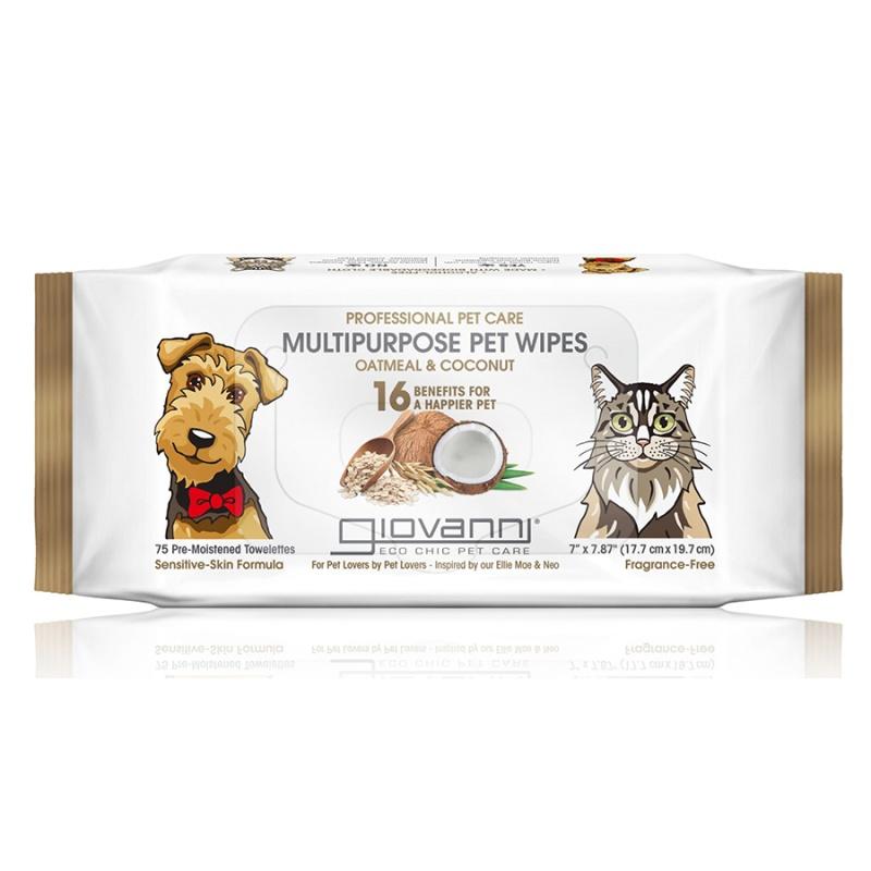 Giovanni Professional Multipurpose Pet Wipes Oatmeal & Coconut 75 Count