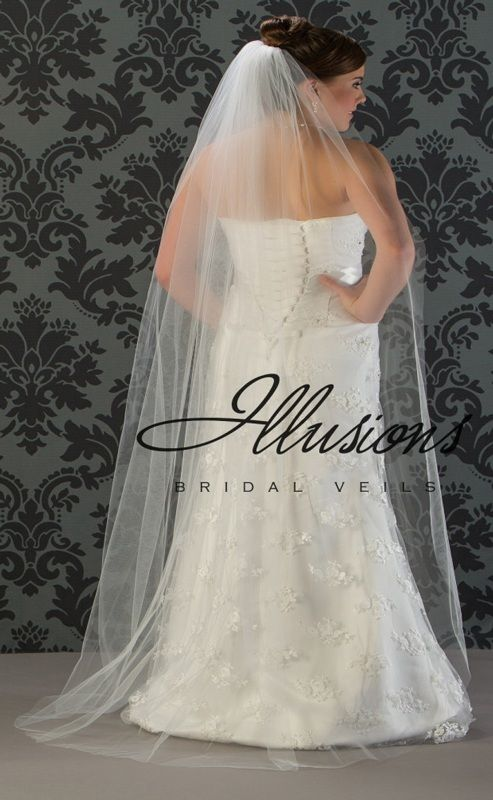 Illusions Bridal Cut Edge Wedding Veil 1-721-CT: Floor Length, Rhinestone Accent