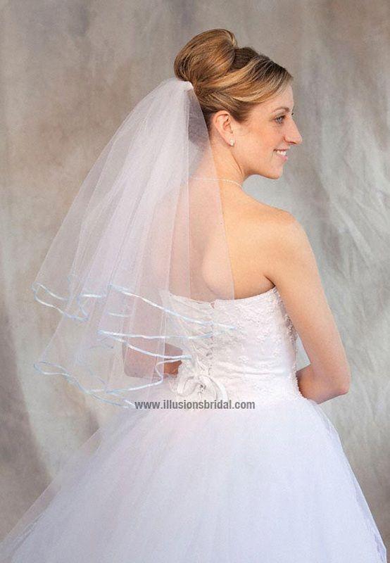 Illusions Bridal Colored Veils and Edges: Light Blue Ribbon Edge