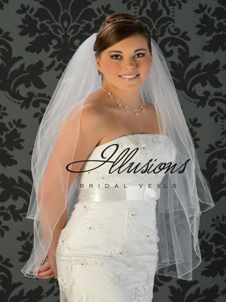 Illusions Bridal Corded Edge Veil S1-362-C: Fingertip Length, Diamond White, Pearl Accent