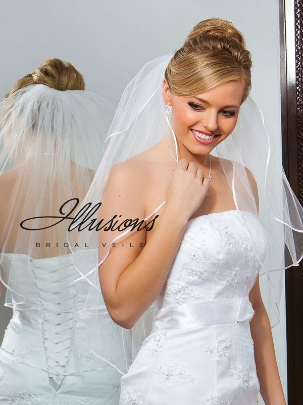 Illusions Bridal Ribbon Edge Veil S7-302-1R
