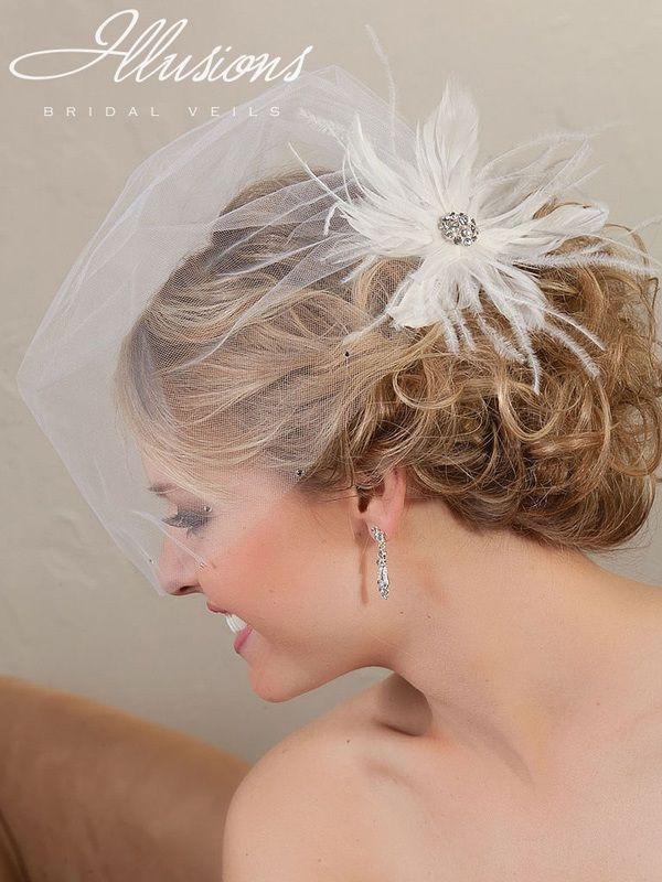 Illusions Bridal Visor Veils VS-7039: Diamond White