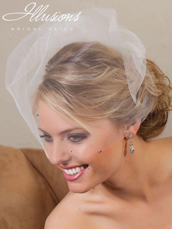 "Illusions Bridal 18"" Visor Veils with Rhinestone VS-789"