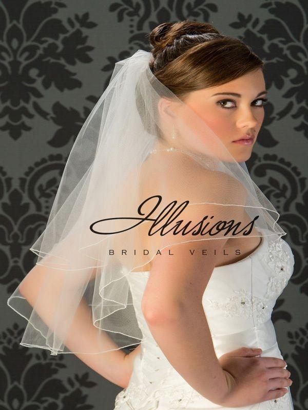 Illusions Bridal Corded Edge Veil C7-252-C: 2 Layer Elbow Length, Rhinestone Accent