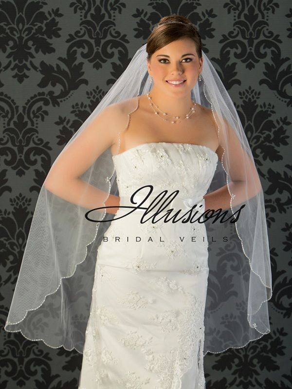 Illusions Bridal Beaded and Specialty Veils with Crystals and Bugle Beads V-795