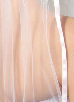 Illusions Bridal Colored Veils and Edges: Pink Ribbon Edge