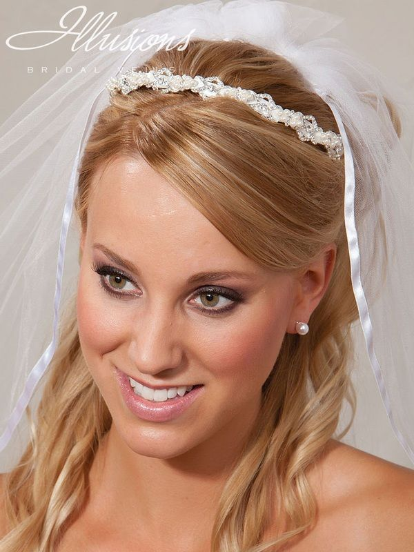 Illusions Bridal Headband with Ribbon 2849
